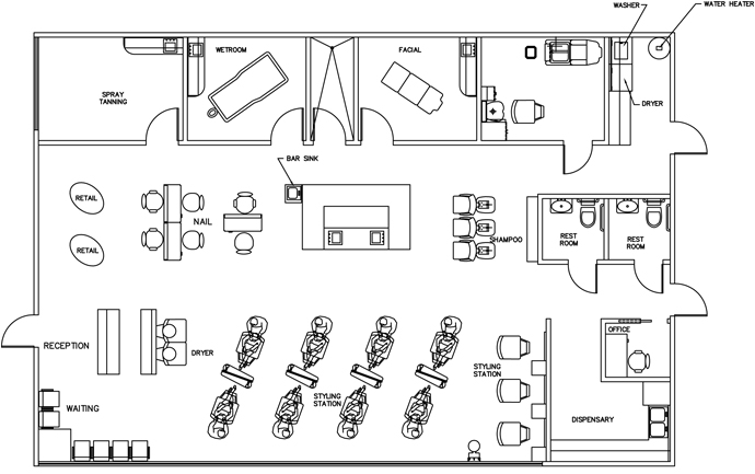 Beauty salon floor plan design layout 2385 square foot for Beauty salon layout