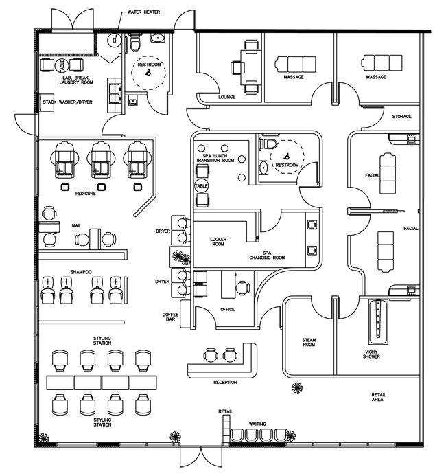 Beauty salon floor plan design layout 3375 square foot for A business plan for a beauty salon