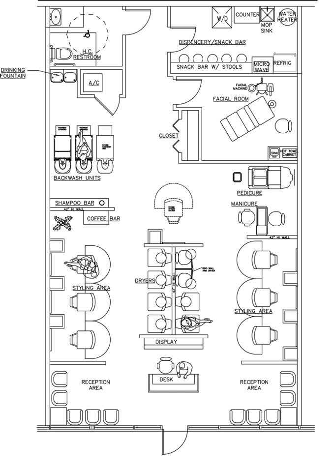 Beauty salon floor plan design layout 1533 square foot for Salon floor plans