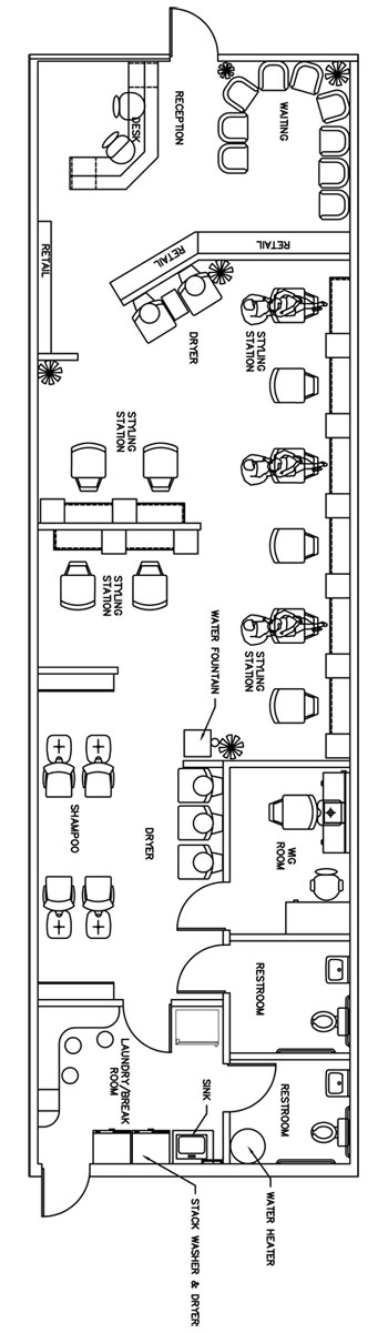 Beauty salon floor plan design layout 1435 square foot for Salon floor plans free