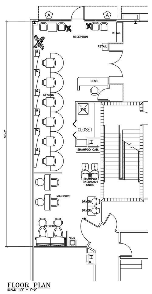 مخطط مركز تجميل Salon Floor Plan  تخطيط محل تجميل بيوتي سنتر تصميم مخطط جاهز