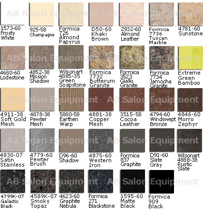 AB Salon Equipment Select Laminate Colors
