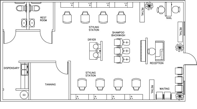 Beauty salon floor plan design layout 1160 square foot for Beauty salon layout