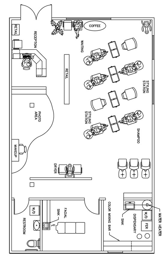 Beauty salon floor plan design layout 1390 square foot for Make a room layout online