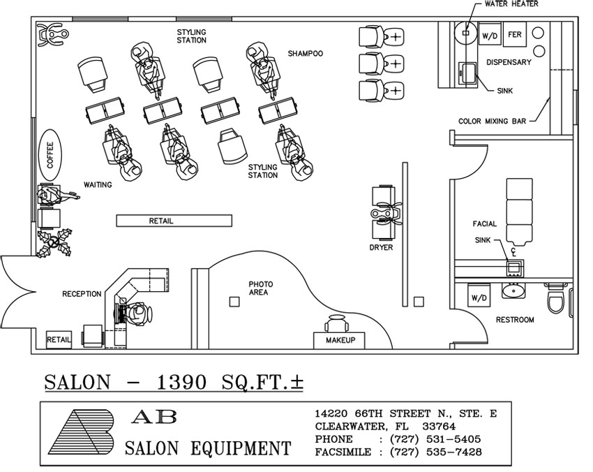 Salon designs by ab salon equipment for Salon floor plans
