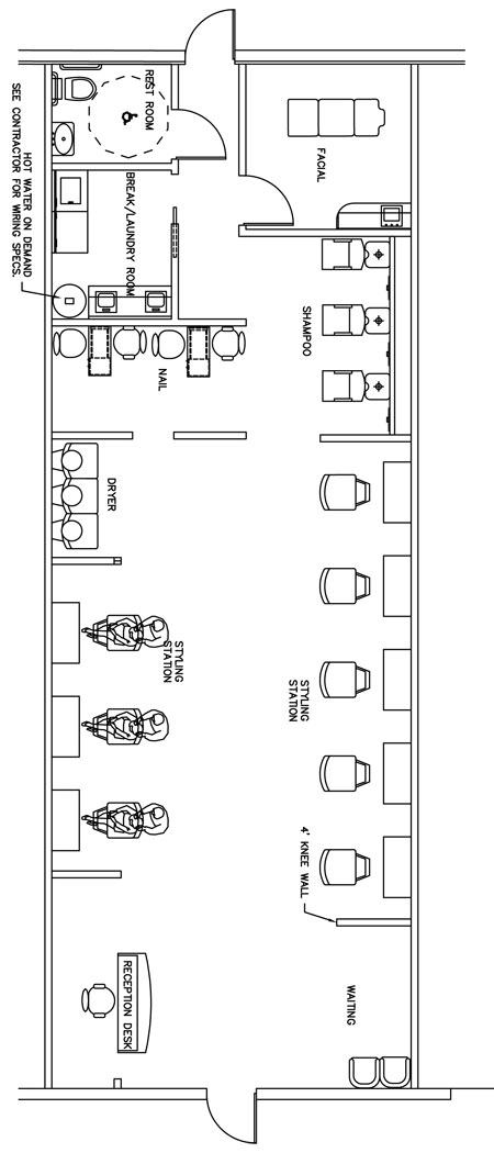Beauty salon floor plan design layout 1400 square foot for Salon floor plans