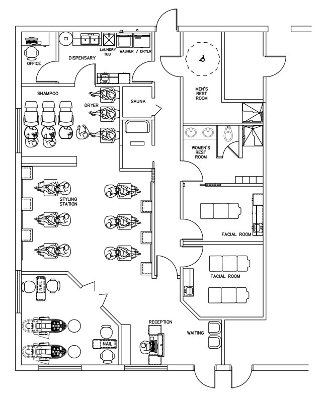 Beauty Salon Floor Plan Design Layout - 1700 Square Foot