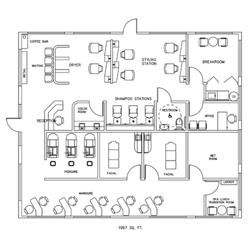Salon spa design cad layout 1967 square foot for Salon layout plans