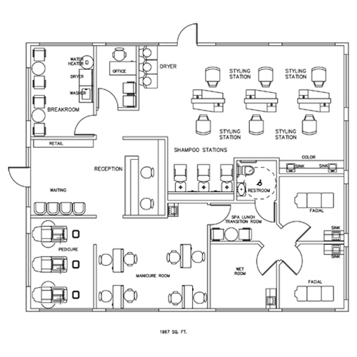 salon spa design cad layout 1967 square foot