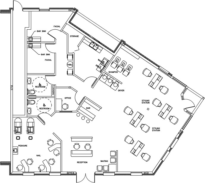 Beauty salon floor plan design layout 2232 square foot for Salon layout plans