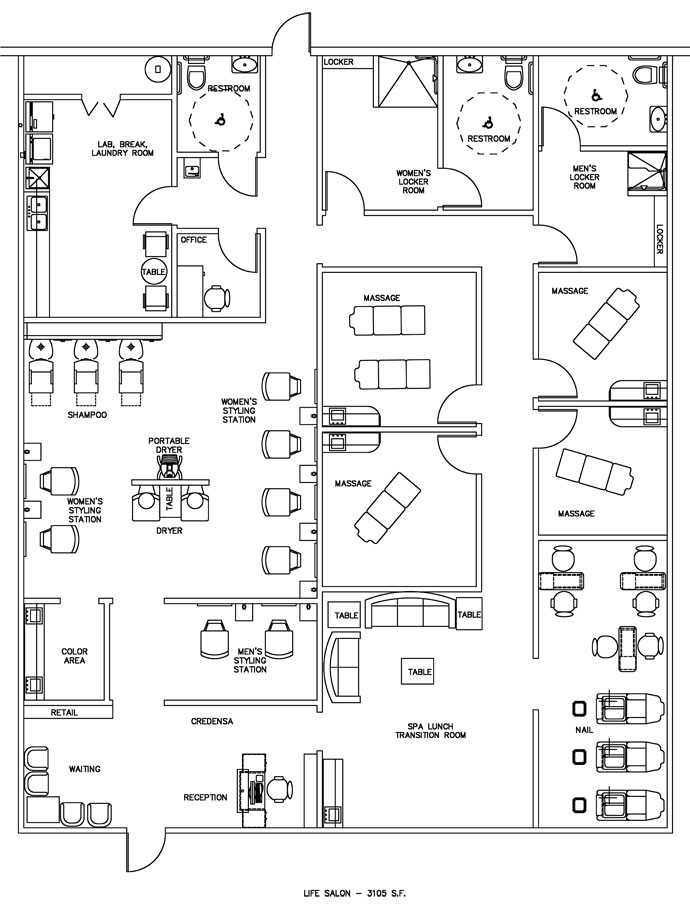 Salon spa floor plan design layout 3105 square foot for Dental office design 1500 square feet
