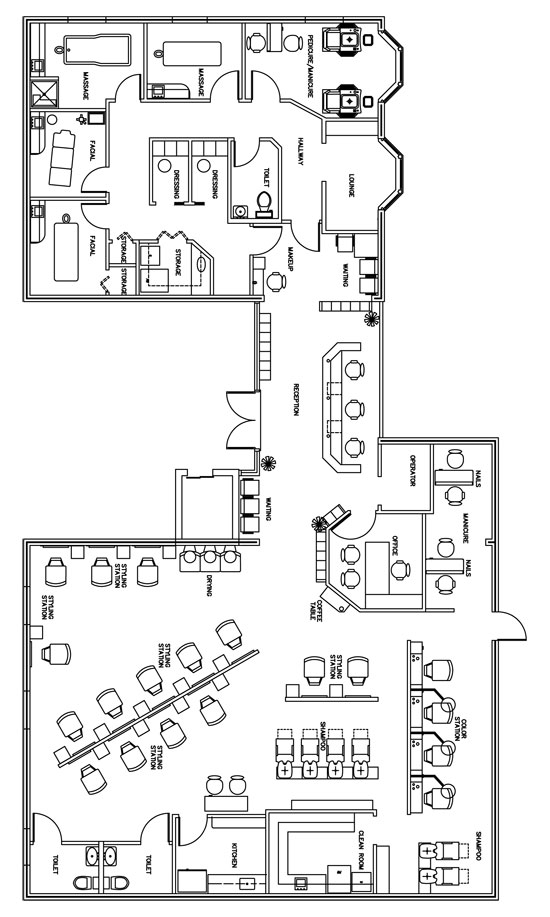 Beauty Salon Floor Plan Design Layout - 3406 Square Foot