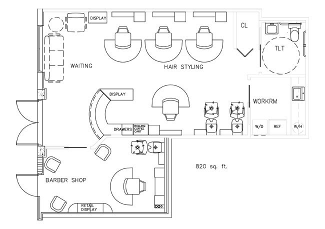 Barber shop floor plan design layout 820 square foot for Shop plans and designs