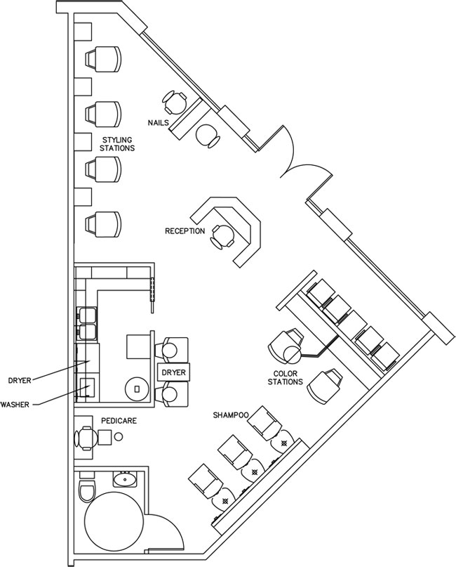 Beauty salon floor plan design layout 890 square foot for Design a beauty salon floor plan