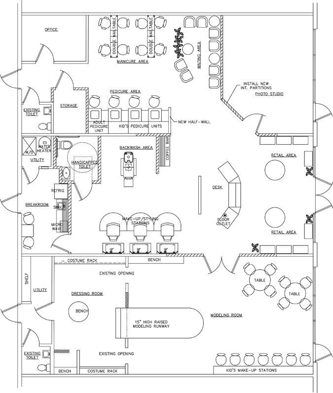 la dee da kids spa floor plan design layout - Spa Floor Plan
