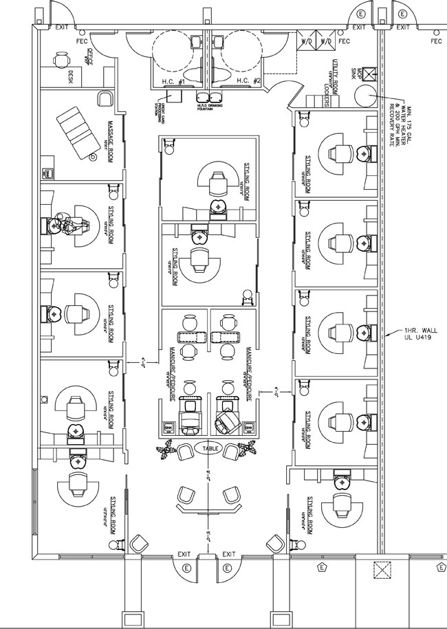 Beauty salon floor plan design layout 2762 square foot for Beauty salon layout