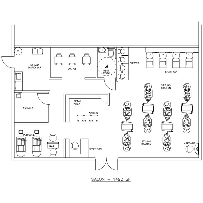 Beauty salon floor plan design layout 1490 square foot for Coffee shop floor plan with dimensions