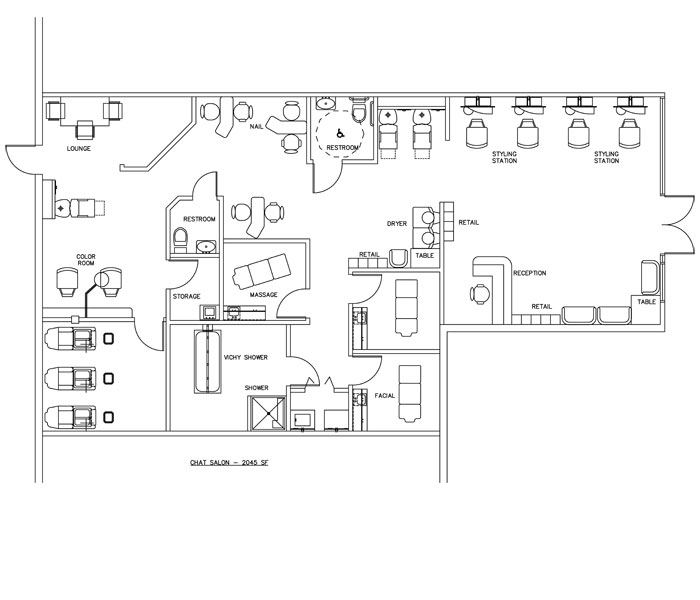Beauty salon floor plan design layout 2045 square foot for Salon floor plans