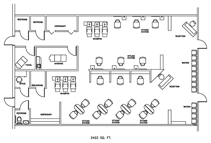 Beauty salon floor plan design layout 2422 square foot for Dog grooming salon floor plans