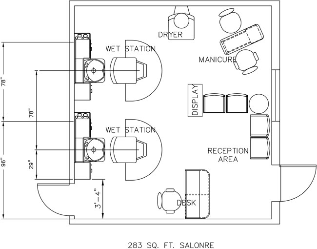 Beauty Salon Floor Plan Design Layout - 283 Square Foot