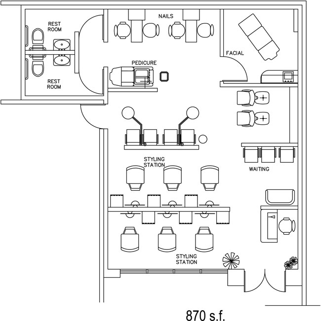 Beauty salon floor plan design layout 870 square foot for Dog grooming salon floor plans