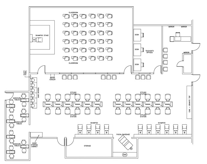 Technical school floor plan design layout 4040 square foot for Design a beauty salon floor plan
