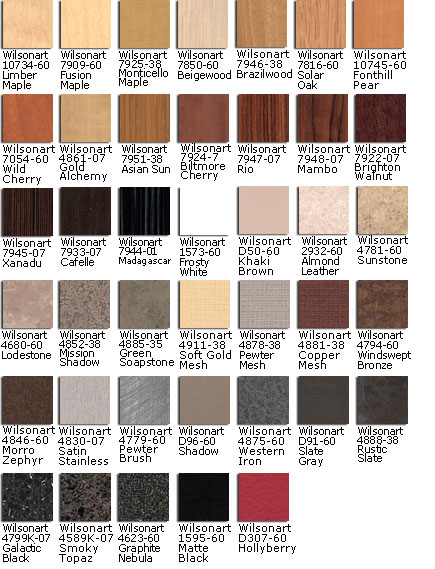 Wilsonart & Formica Laminate Colors (Other Colors are available, Call for Details)