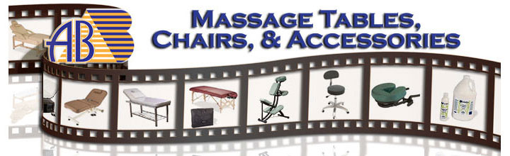 AB Salon Equipment - Film Strip with Pictures of Massage Tables and Massage Equipment