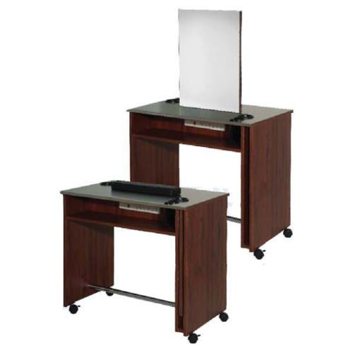 Belvedere Edge EDU131 Manicure Table / Double Styling Vanity - Stainless Steel Top & Laminate