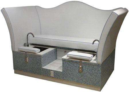 Design X 7451 Glass Tiled Loveseat Pedicure Spa