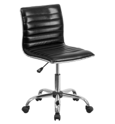 Flash Furniture Mid-Back Armless Black Ribbed Designer Task Chair