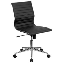 Flash Furniture Mid-Back Armless Black Ribbed Leather Conference Chair