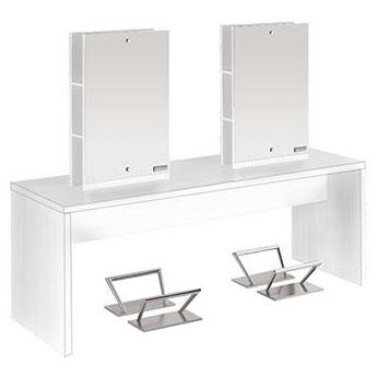 Salon Ambience MI/248 Flat Island Station for 4 Stylists - White