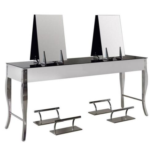 Salon Ambience MI/344-N Secret 4 Place Styling Station - Black Glass Top
