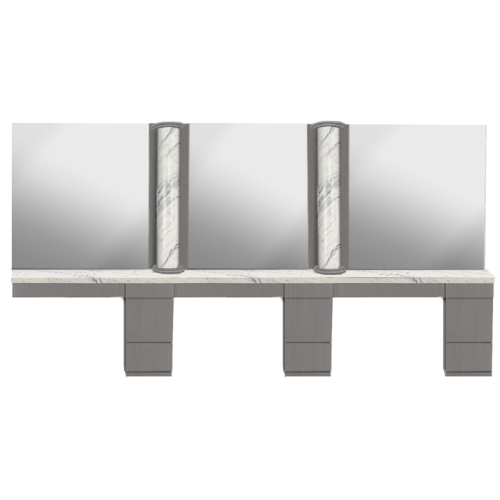 AB Salon Equipment 57480 Triple Column Styling Station