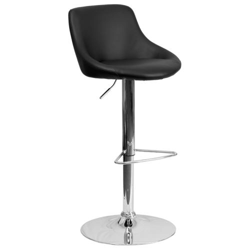 Fabulous Flash Furniture Contemporary Black Vinyl Bucket Seat Stool Caraccident5 Cool Chair Designs And Ideas Caraccident5Info