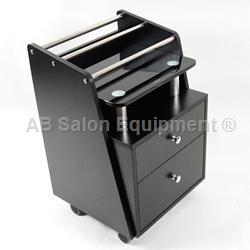 J & A USA Pedi Cart with Glass Top - Black