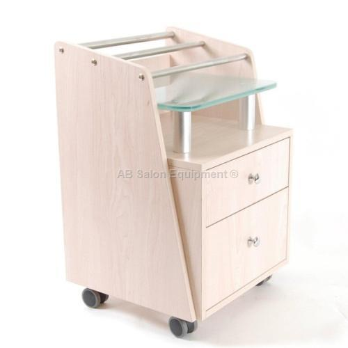 J & A USA Pedi Cart with Glass Top - Maple